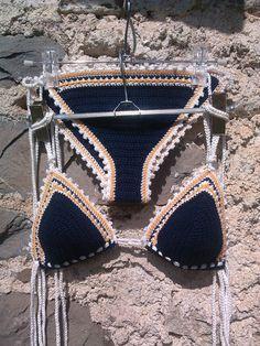 Dark Blue Crochet Bikini Triangle Bikini by GoodMoodCreations