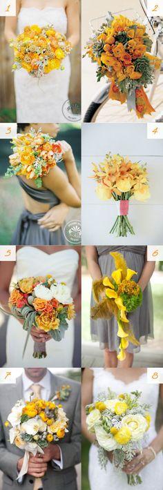 Fall wedding bouquets - #orange #marigold #yellow