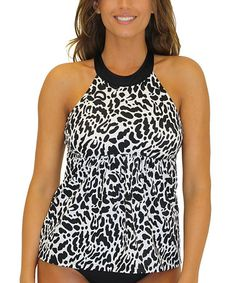 Look at this #zulilyfind! Black Wild Chic High-Neck D-Cup Tankini Top #zulilyfinds