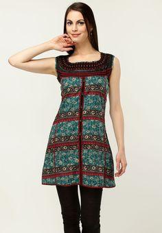 Sleeve Less Printed Blue Kurti Online Shopping - 18 Fire   18705WA36HKLINDFAS