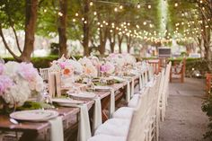 """""""vintage reception tablescapes"""" It's a small detail, but I love the napkins hanging in front of each place setting. Spring Wedding Decorations, Wedding Themes, Wedding Tips, Wedding Bride, Wedding Styles, Wedding Ceremony, Wedding Day, Wedding Table, Cake Wedding"""