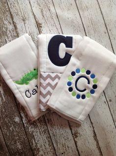 Set of 3 Personalized Burp Cloths - Diaper Cloths - Baby Boy - Monogrammed - Gift Set - Chevron - Gator -Alligator by Rubyandoliver on Etsy