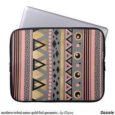 modern tribal aztec gold foil geometric pattern computer sleeve