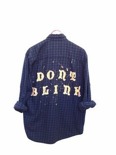 Don't Blink Shirt in Bleached Navy Blue Flannel - Doctor Who. One of a kind and unisex. Bambiandfalana.com