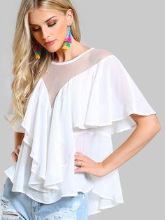 519866a2cc767 Shop Mesh Cut Out Flounce Top online. SHEIN offers Mesh Cut Out Flounce Top    more to fit your fashionable needs.