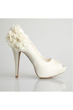 Allure Bridals-Sleek Ivory Satin Flower Peep Toe Heel - Unique Vintage - Cocktail, Pinup, Holiday & Prom Dresses.