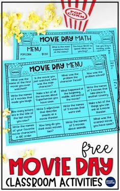 Classroom movie day ideas for first, second, and third grade kids that are both fun and educational. Your students will love the FREE movie day math and reading menus in this post as they use the movie they are watching to review important skills. The movie related activities are ideal for 1st, 2nd, and 3rd grade teachers to keep students engaged and still learning after the movie!