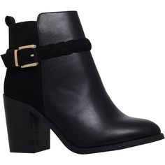 Miss KG Swift Side Buckle Ankle Boots, Black (€86) ❤ liked on Polyvore featuring shoes, boots, ankle booties, black cowboy boots, cowgirl boots, western ankle boots, black high heel booties and black boots