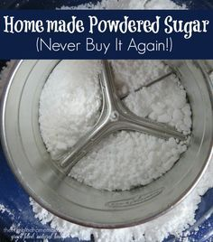 your own homemade powdered sugar is one of the easiest things you will ever do in the kitchen! Never buy it again!Making your own homemade powdered sugar is one of the easiest things you will ever do in the kitchen! Never buy it again! Homemade Onion Soup Mix, Homemade Spices, Homemade Syrup, Make Powdered Sugar, Powdered Sugar Substitute, Confectioners Sugar, Granulated Sugar, Coconut Sugar, Real Food Recipes