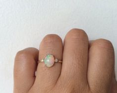 Opal Ring Opal Engagement Ring 14k Opal Ring by charlieandmarcelle