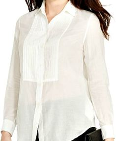 bde72e3da6dae NWT Ralph Lauren Plus Size Womens White Long Sleeve Button Down Shirt  tuxedo  RalphLauren