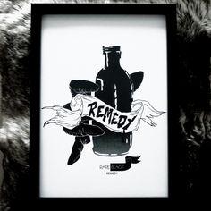 Remedy - ink sketch X print