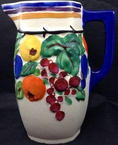 Chechoslovakia Bern 3 4 Lit Pottery Creamer Pitcher Vtg White Blue Fruit | eBay