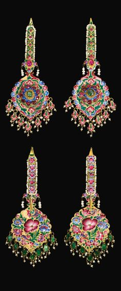 Persia. Pair of  Qajar earrings and  hair pendants; gold, emeralds, rubies, enamel and seed pearls. 19th century.