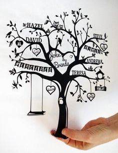 Personalised family tree papercut personalized gift custom made handmade family names gift for Family Tree Images, Family Tree Quotes, Family Tree Designs, Family Tree Art, Family Tree Tattoos, Family Tree Drawing, Tattoo Familie, Tree Templates, Printable Templates