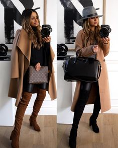 Winter Fashion Casual, Fall Winter Outfits, Autumn Fashion, Casual Winter, Leather Leggings Outfit, Boots And Leggings, Leggings Outfit Winter, Knee Boots, Over The Knee Boot Outfit