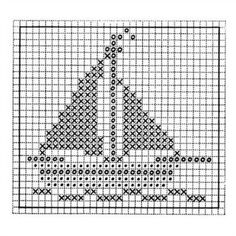 Baby Blanket Embroidery Pattern - Sailboat - Second Crafting Cross Stitching, Cross Stitch Embroidery, Embroidery Patterns, Hand Embroidery, Crochet Blanket Patterns, Baby Blanket Crochet, Knitting Charts, Knitting Patterns, Cross Stitch Designs