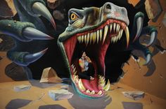 3D painting in Hangzhou - Dinosaur