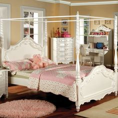 Youth Victoria Fairy Princess Style Lovely Pearl White Twin Or Full Bed Canopy