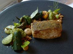 Five Fields restaurant London, Cornish Turbot, roasted, with Aubergine, Green Olive and Courgette