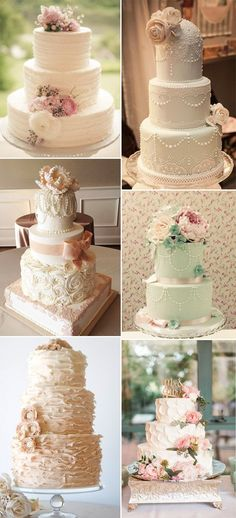 Vintage wedding cakes feature floral decorations and frosting pastel colors with ribbons, bows, laces embellishments.