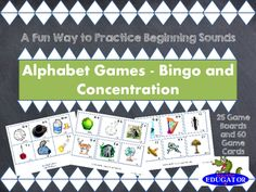Two Games. Alphabet Memory and Bingo. 25 game boards for alphabet bingo, and directions on how to play. Students try to match the letter on their board to the one that is called. Vocabulary builder! Also includes 2 sets of alphabet cards for playing an Alphabet Memory Game, with directions.