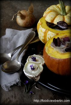 Provençal Onion Soup in a Squash with Goat's Cheese & Lavender Crostini