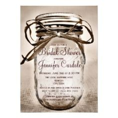 Country Mason Jar Rustic Bridal Shower Invitations  #bridalshower #wedding #masonjar
