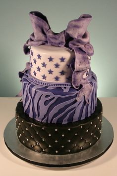 Purple, Stars & Zebra Print Birthday Cake
