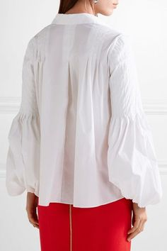 Oscar de la Renta - Pleated Stretch Cotton-blend Blouse - White - US14