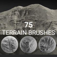 Terrain Brush Pack for Zbrush - 75 Brushes, Jakob Menz Zbrush Tutorial, 3d Tutorial, Digital Art Tutorial, Blender 3d, Alpha Pack, Digital Sculpting, Blender Tutorial, Modelos 3d, Modeling Tips