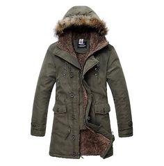 Men's Casual Winter Fur Furry Lining Hooded Military Long Coat Jacket Parka Xxl Mens Winter Coat, Winter Jackets, Winter Coats, Parka Coat, Hooded Parka, Green Coat, Fur Jacket, Leather Jacket, Men Casual