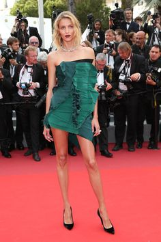 Anja Rubik in Saint Laurent by Anthony Vaccarello at the premiere of The Killing of a Sacred Deer during the Cannes Film Festival in Cannes, France, May 2017.