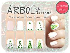 Tutorial para hacer una manicura de árbol de navidad sin tape solo con dotting tool. Christmas Tree Manicure - Nail art tutorial http://www.nataliciosa.com/2/post/2013/12/tutorial-navidad-rbol-con-puntos.html @Nataliciosa.com <3