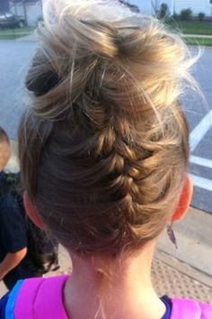 Upside down French braid with messy bun  Day #4