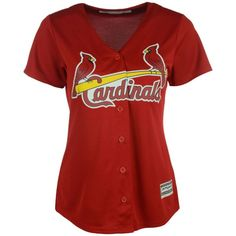 Majestic Women's St. Louis Cardinals Cool Base Jersey (4,000 PHP) ❤ liked on Polyvore featuring activewear, activewear tops, red, mlb jerseys, red jersey, major league baseball jerseys, majestic sportswear and majestic jerseys
