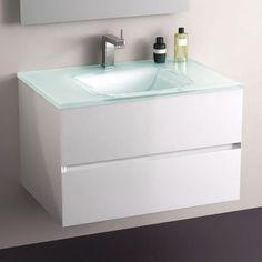 Meuble de salle de bain en MDF 18 mm laqué blanc brillantet plan vasque en verre 15 mm. 2 tiroirs avec système de fermeture amortie Blum. Livré monté. Style épuré et chic.