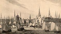 Blick auf den Hamburger Hafen im 19. Jahrhundert.
