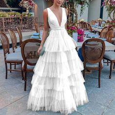 Fashion 2019 Sheer Mesh Elegant Maxi Dress Women Deep V Neck Sexy Party White Dress Vintage Summer Layer Dress Vestidos Puffy Dresses, V Neck Prom Dresses, Ball Gown Dresses, Formal Dresses, Maxi Dresses, The Dress, Dress For You, Tutu En Tulle, Elegant Maxi Dress
