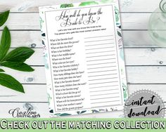 How Well Do You Know The Bride To Be Bridal Shower How Well Do You Know The Bride To Be Botanic Watercolor Bridal Shower How Well Do 1LIZN #bridalshower #bride-to-be #bridetobe