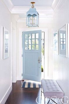 powder blue and white entry