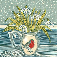 A beautiful red robin jug filled with snowdrops is centre stage in this blank fine art greeting card from a linocut by printmaker Vanessa Lubach. Linocut Prints, Art Prints, Gelli Printing, Christmas Illustration, Illustrations, Gravure, Christmas Art, Flower Art, Printmaking