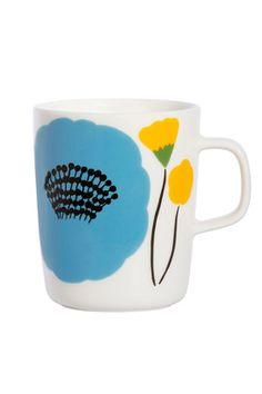 Marimekko Ahonlaita Multicolor Mug Add the freshness of budding blossoms to your morning cup of coffee with the Marimekko Ahonlaita Mug. Inspired by a summery meadow's edge, Aino-Maija Metsola's Ahonlaita pattern adorns this sturdy porc. Marimekko, Scandinavia Design, Cool Mugs, China Art, Hand Painted Ceramics, Ceramic Painting, Crate And Barrel, Decoration, Print Patterns