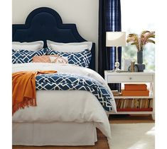 Orange And Blue Crib Bedding Orange And Blue Bedroom Marvelous Navy Blue Headboard Best Ideas About Navy Headboard On Gray Headboard Orange Blue Crib Bedding Bedroom Orange, Bedroom Colors, Bedroom Decor, Bedroom Ideas, White Bedroom, Coral Bedroom, Bedroom Curtains, Navy Curtains, Guest Room Decor