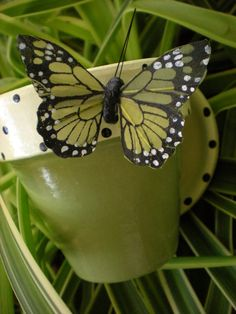Hand Painted Flower Pots with Matching Butterfly