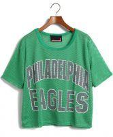 Green PHILADELPHIA EAGLES Print Mesh Yoke T-Shirt @SheInside