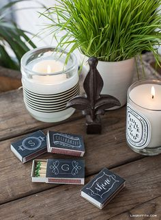 For fun yet inexpensive party favors, print the bride's initial onto these labels and adhere onto matchboxes.