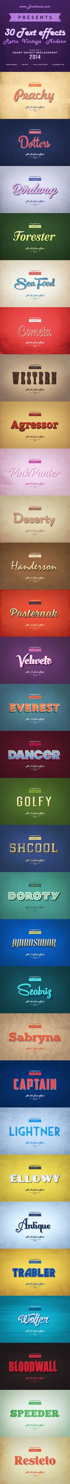 30 Retro & Modern Style Text Effects for Photoshop. Download here: http://graphicriver.net/item/30-retro-modern-style-text-effects/8775740?ref=ksioks