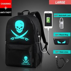2018 Anti-theft Nightlight School Bags USB Charging Men Luminous Backpacks  Mochila Fashion Anime Cartoon Student School Backpack 53b35178e3e78