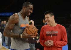 official photos 1263f 5a890 Houston Rockets Jeremy Lin, right, talks to former New York Knicks  teammate Amare